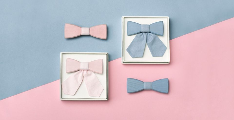 Simple Wooden bow ties for couples