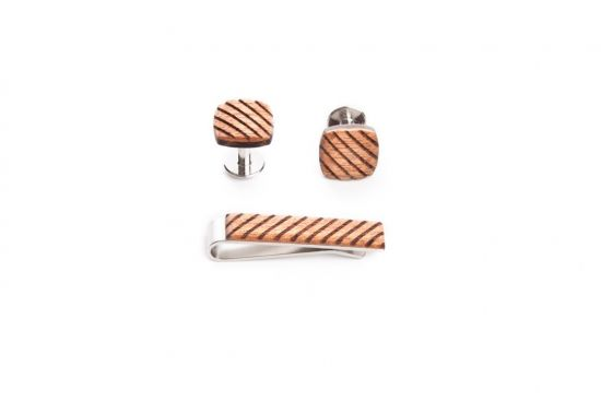 wooden set sull tie clip and cufflinks